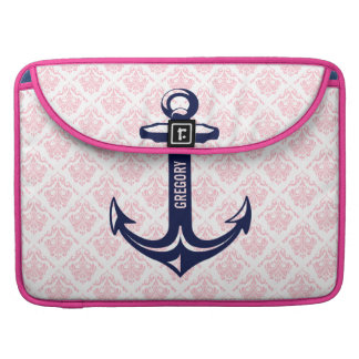 Monogramed Blue Nautical Anchor & Pink Damasks Sleeve For MacBook Pro