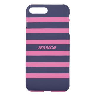 Monogramed Blue Stripes Custom Pink Background iPhone 7 Plus Case