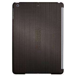 Monogramed Brown Metallic Brushed Aluminum Look Case For iPad Air
