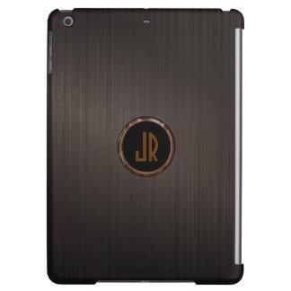 Monogramed Brown Metallic Brushed Aluminum Look iPad Air Cover