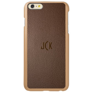 Monogramed Browny Faux Leather Look