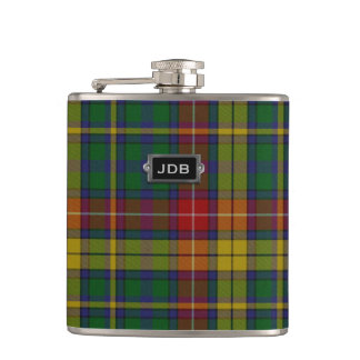 Monogramed Clan Buchanan Tartan Plaid Flask