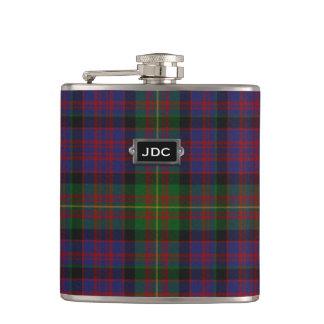 Monogramed Clan Carnegie Tartan Plaid Flask