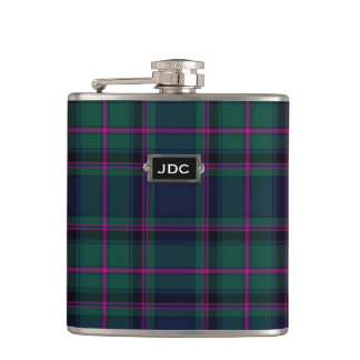 Monogramed Clan Cooper Tartan Plaid Flask