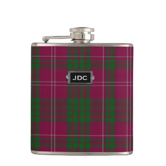 Monogramed Clan Crawford Tartan Plaid Flask