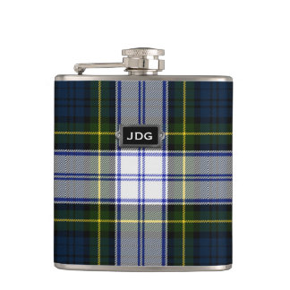 Monogramed Clan Gordon Dress Tartan Plaid Flask