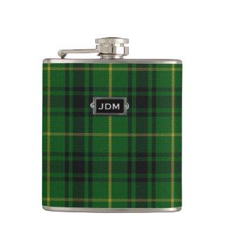 Monogramed Clan MacArthur Tartan Plaid Flask