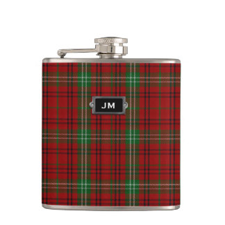 Monogramed Clan Morrison Tartan Plaid Flask