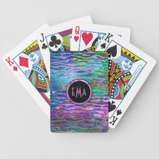 Monogramed Colorful Abstract Melting Glass Bicycle Playing Cards