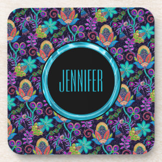 Monogramed Colorful Glass Beads Floral Design 2a Drink Coaster
