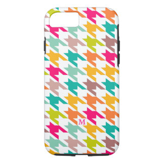Monogramed Colorful Houndstooth Geometric Pattern iPhone 7 Case