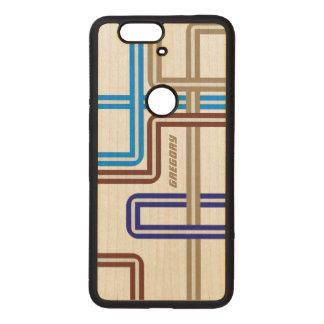 Monogramed Colorful Retro Geometric Lines 2 Wood Nexus 6P Case