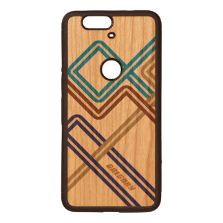 Monogramed Colorful Retro Geometric Lines Wood Nexus 6P Case
