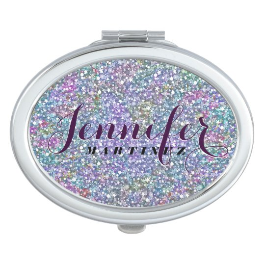 Monogramed Colourful Tint Glitter & Sparkles Compact Mirror