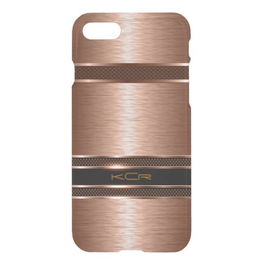 Monogramed Copper Metallic Brushed Aluminum Look iPhone 8/7 Case