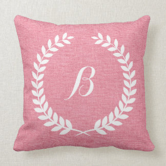 Monogramed Coral Red Linen And White Wreath Throw Pillow