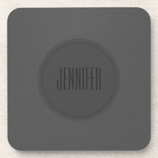 Monogramed Dark Gray Leather Texture Coaster