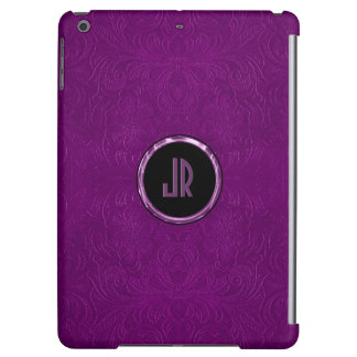 Monogramed Deep Purple Suede Leather Floral Design Case For iPad Air