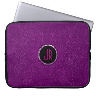 Monogramed Deep Purple Suede Leather Floral Design Laptop Sleeve