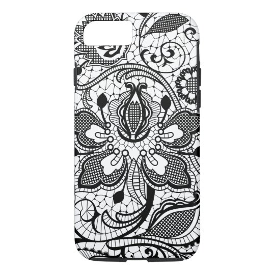 Monogramed Elegant Black & White Floral Girly Lace iPhone 7 Case