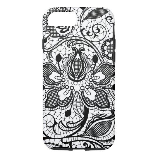 Monogramed Elegant Black & White Floral Girly Lace iPhone 8/7 Case