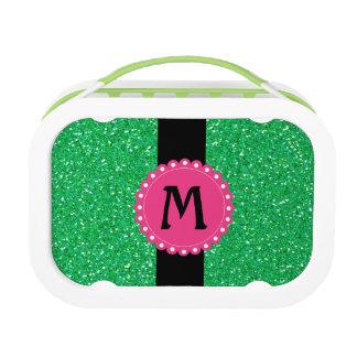 Monogramed Glitter Green Lunch Box