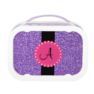 Monogramed Glitter Purple with Hot Pink Lunch Box