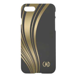 Monogramed Gold And Black Wavy Stripes 2c iPhone 7 Case