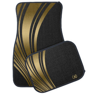 Monogramed Gold And Black Wavy Stripes Car Liners