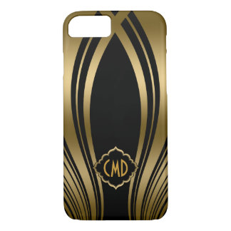 Monogramed Gold And Black Wavy Stripes iPhone 7 Case