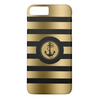 Monogramed Gold & Black Stripes Nautical Anchor iPhone 7 Plus Case