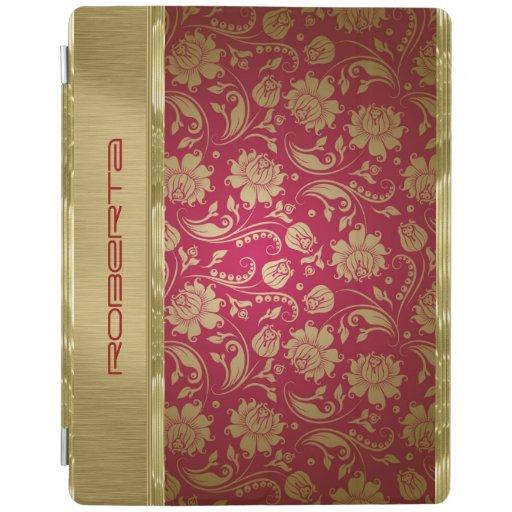 Monogramed Gold & Burgundy Red Floral Damasks iPad Cover