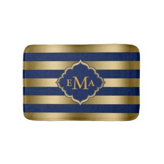 Monogramed Gold Stripes Geometric Pattern Bath Mat