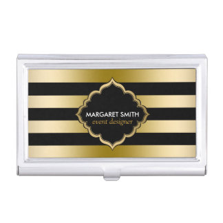 Monogramed Gold Stripes Geometric Pattern Business Card Holder