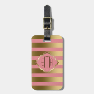 Monogramed Gold Stripes & Pink Geometric Pattern Travel Bag Tags