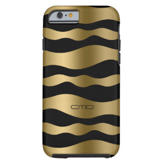 Monogramed Gold Wavy Stripes Over Black Background Tough iPhone 6 Case