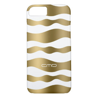Monogramed Gold Wavy Stripes Over White Background iPhone 7 Case