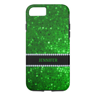 Monogramed Green Glitter & Diamonds iPhone 7 Case