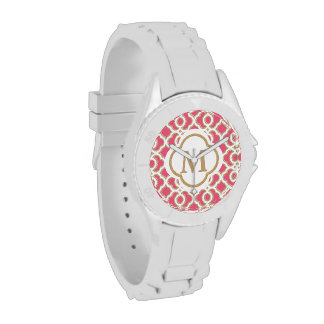 Monogramed Hot Pink and Gold Quatrefoil Moroccan Wrist Watch