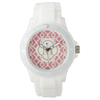 Monogramed Hot Pink and Gold Quatrefoil Moroccan Wristwatch