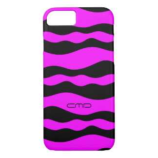 Monogramed Hot Pink Wavy Stripes Black Background iPhone 7 Case