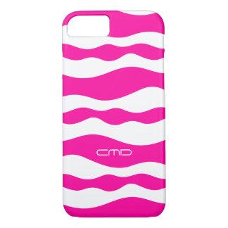 Monogramed Hot Pink Wavy Stripes White Background iPhone 7 Case
