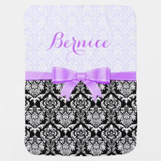 Monogramed Lavender Ribbon Black& White Damasks 1 Baby Blankets