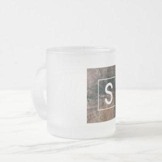 """Monogramed Letter """"S"""" Frosted Mug"""