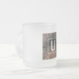 """Monogramed Letter """"U"""" Frosted Mug"""