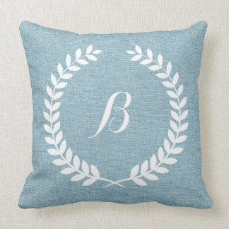 Monogramed Light Blue Linen And White Wreath Throw Pillow