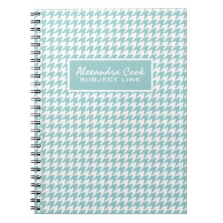 Monogramed Light Blue & White Houndstooth Pattern Notebook