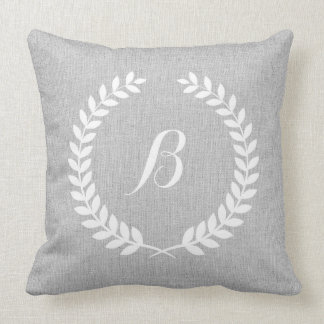 Monogramed Light Gray Linen & White Floral Wreath Throw Pillow