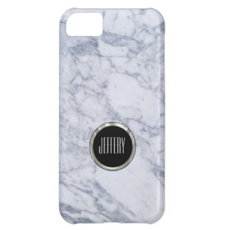 Monogramed Light Gray  Marble Stone Pattern Case For iPhone 5C