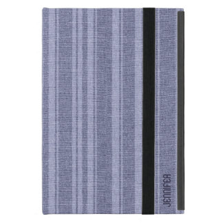 Monogramed Linen Texture Lavender Stripes iPad Mini Covers